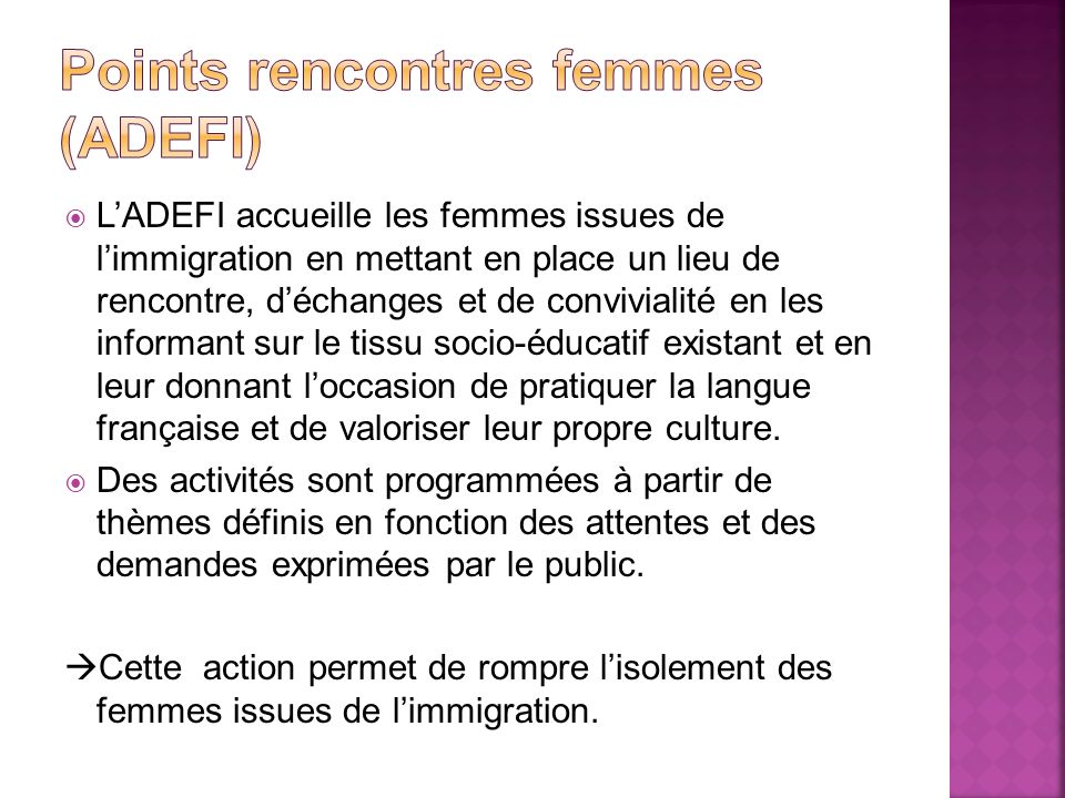 Points rencontres femmes (ADEFI)