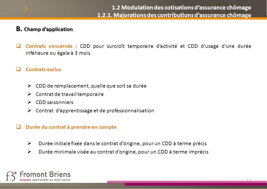 1. 2 Modulation des cotisations d'assurance chômage 1. 2. 1