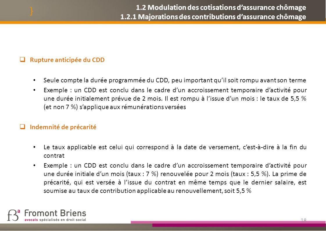1. 2 Modulation des cotisations d'assurance chômage 1. 2
