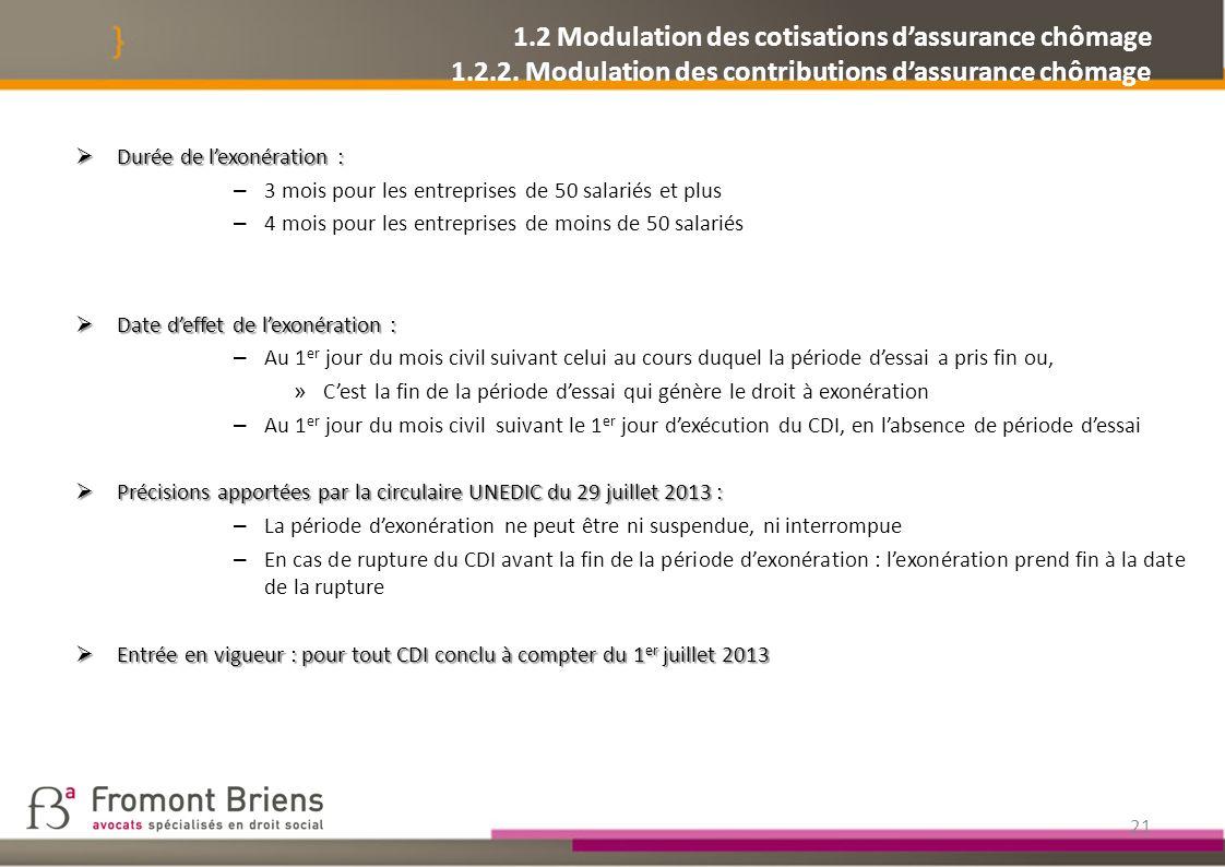 1. 2 Modulation des cotisations d'assurance chômage 1. 2. 2