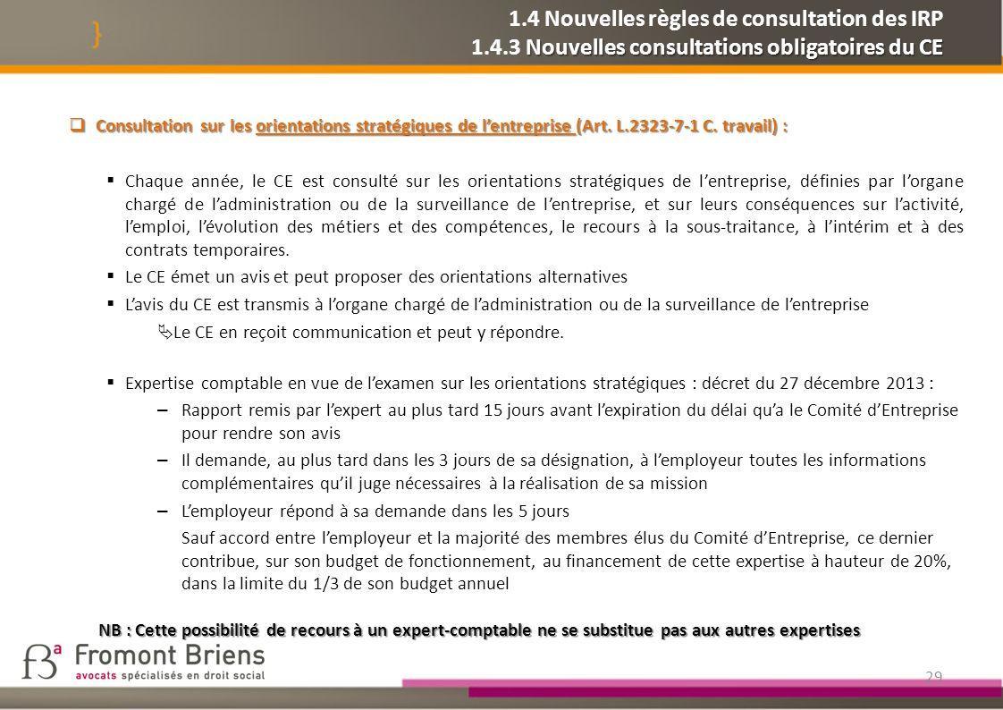 1. 4 Nouvelles règles de consultation des IRP 1. 4