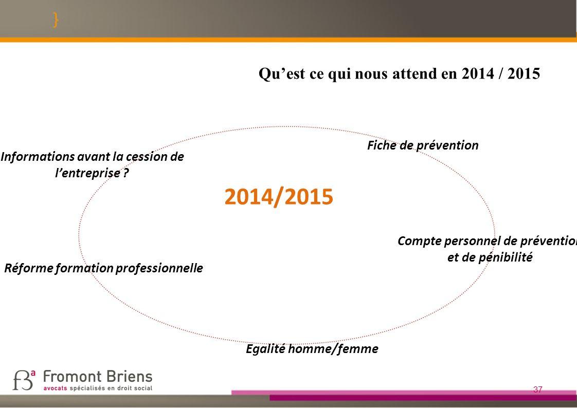 2014/2015 Qu'est ce qui nous attend en 2014 / 2015 Fiche de prévention