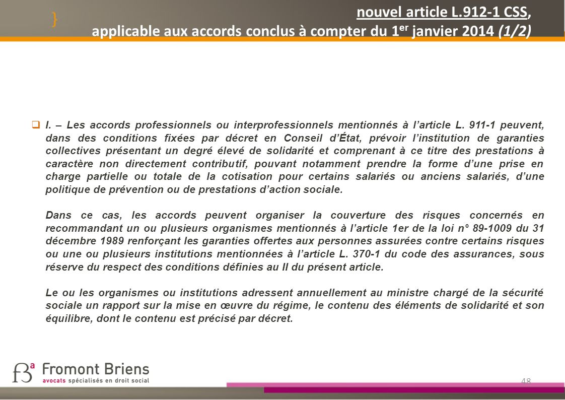 nouvel article L.912-1 CSS, applicable aux accords conclus à compter du 1er janvier 2014 (1/2)