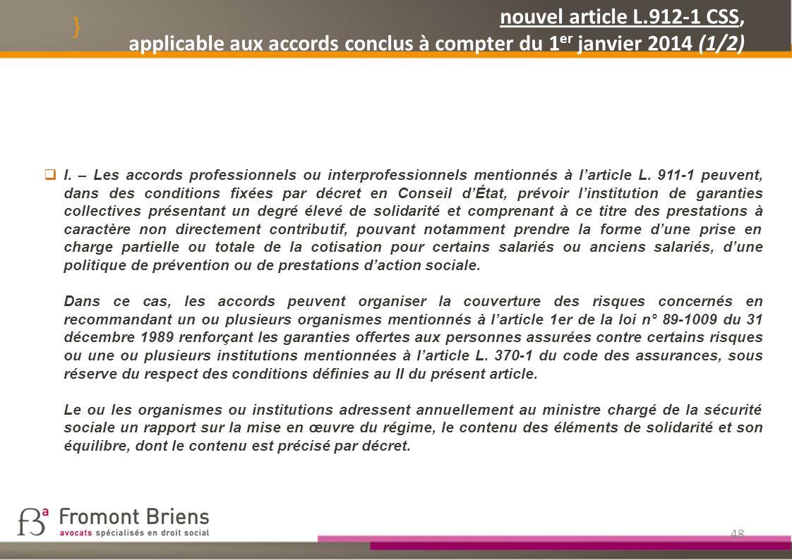 nouvel article L.912-1 CSS, applicable aux accords conclus à compter du 1er janvier 2014 (1/2)