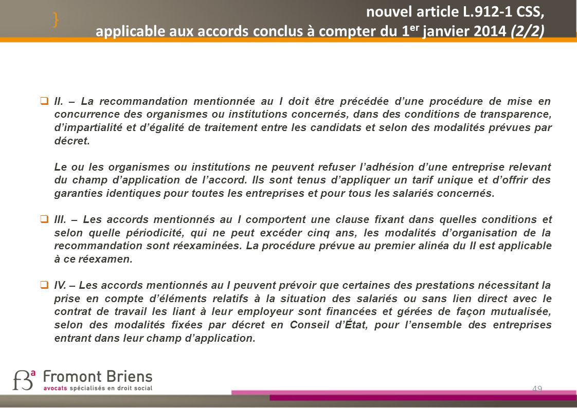 nouvel article L.912-1 CSS, applicable aux accords conclus à compter du 1er janvier 2014 (2/2)