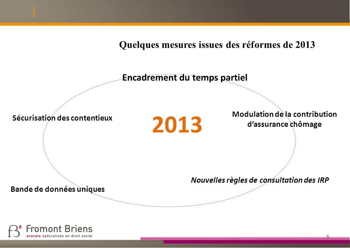 2013 Quelques mesures issues des réformes de 2013