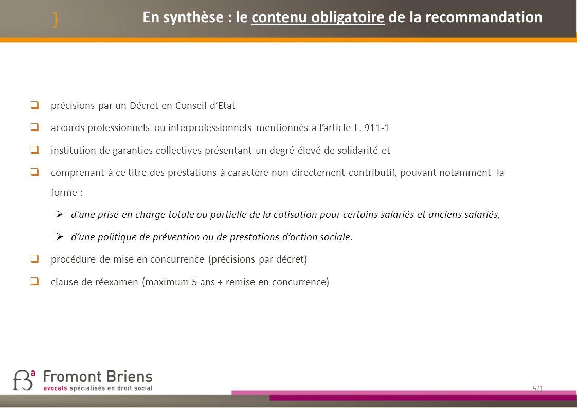 En synthèse : le contenu obligatoire de la recommandation