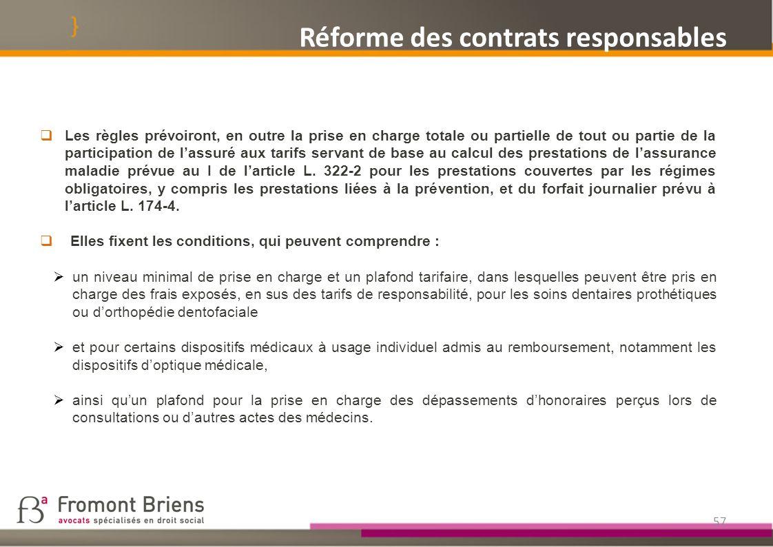 Réforme des contrats responsables