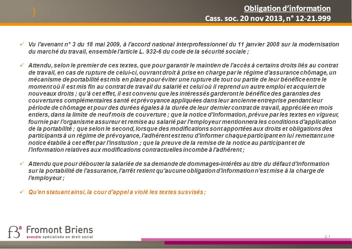 Obligation d'information Cass. soc. 20 nov 2013, n° 12-21.999