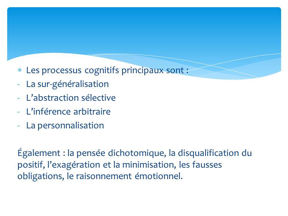 Les processus cognitifs principaux sont :