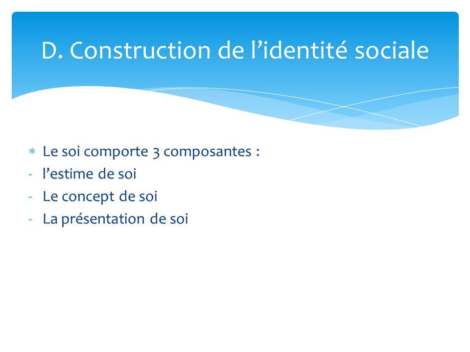 D. Construction de l'identité sociale