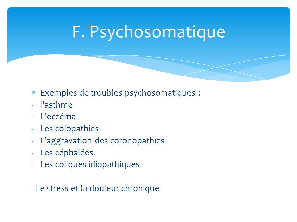 F. Psychosomatique Exemples de troubles psychosomatiques : l'asthme