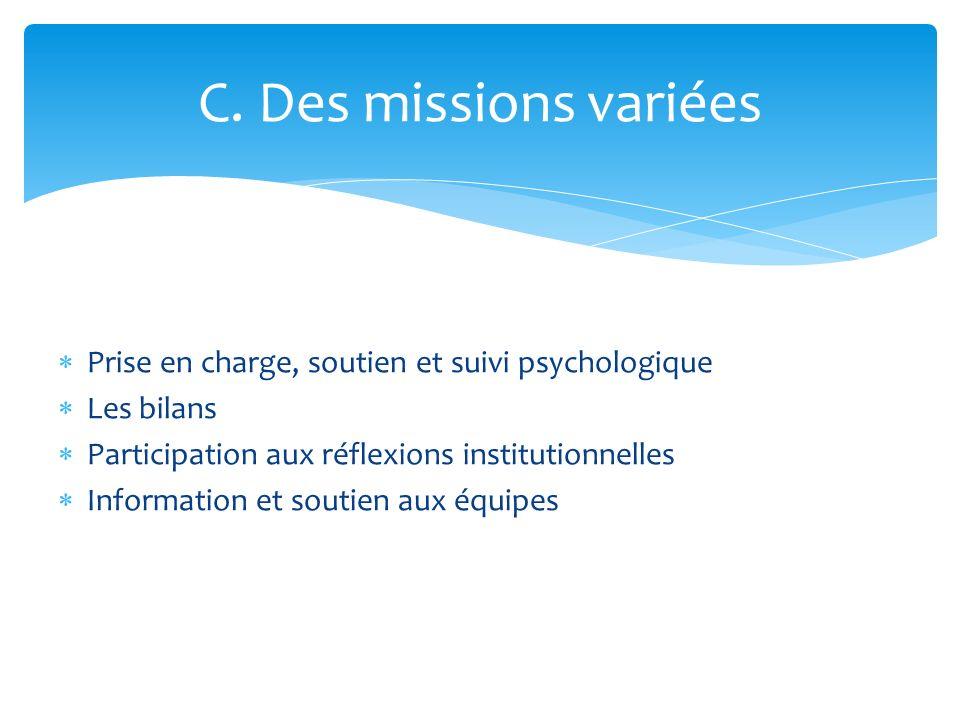 C. Des missions variéesPrise en charge, soutien et suivi psychologique. Les bilans. Participation aux réflexions institutionnelles.