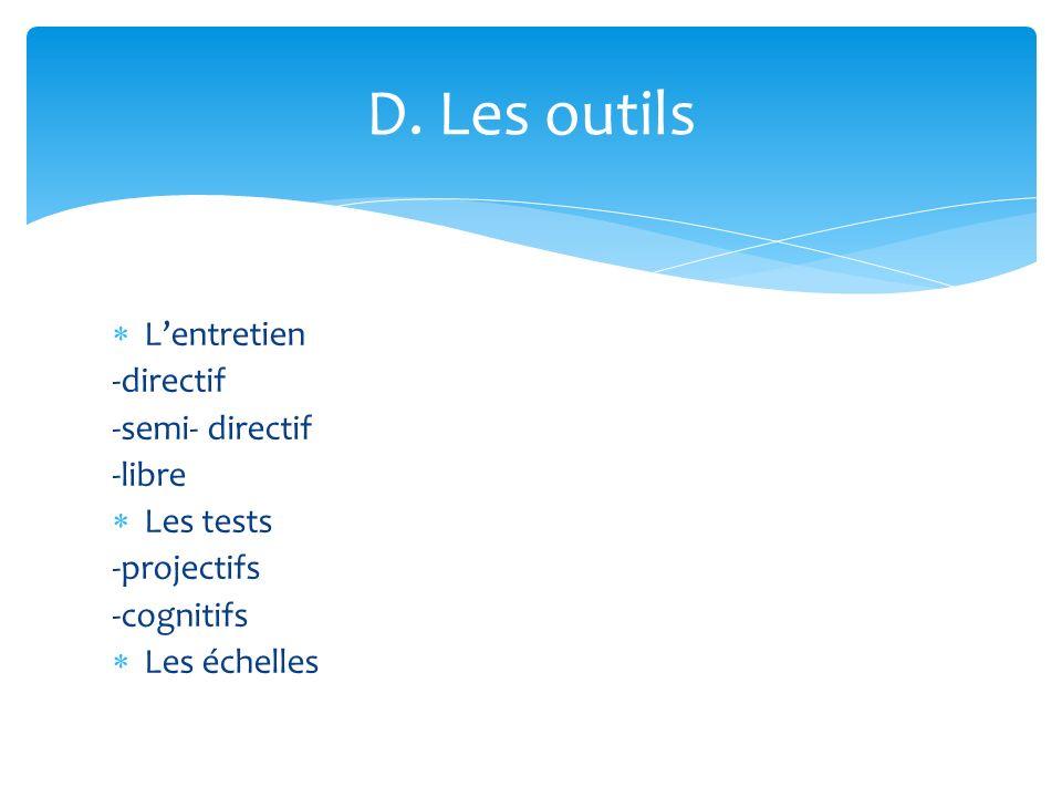 D. Les outils L'entretien -directif -semi- directif -libre Les tests
