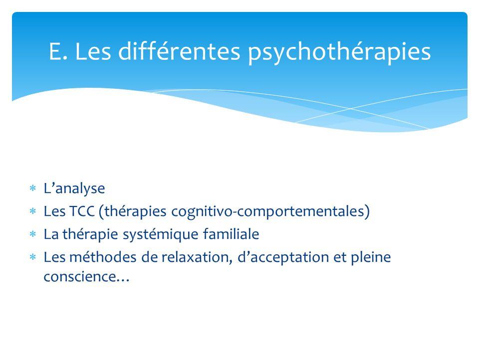 E. Les différentes psychothérapies