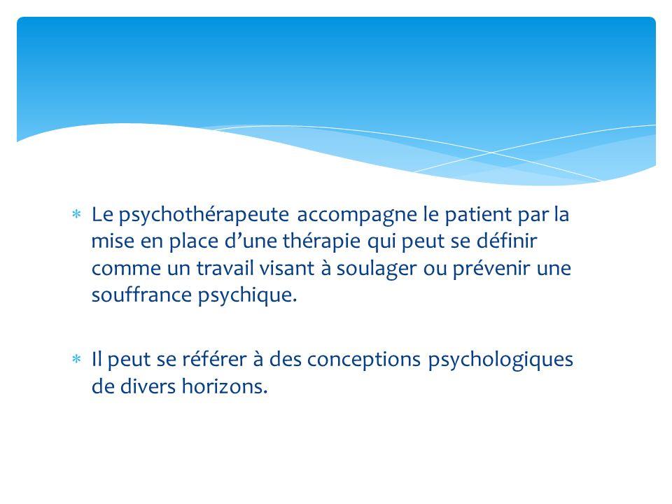 Le psychothérapeute accompagne le patient par la mise en place d'une thérapie qui peut se définir comme un travail visant à soulager ou prévenir une souffrance psychique.