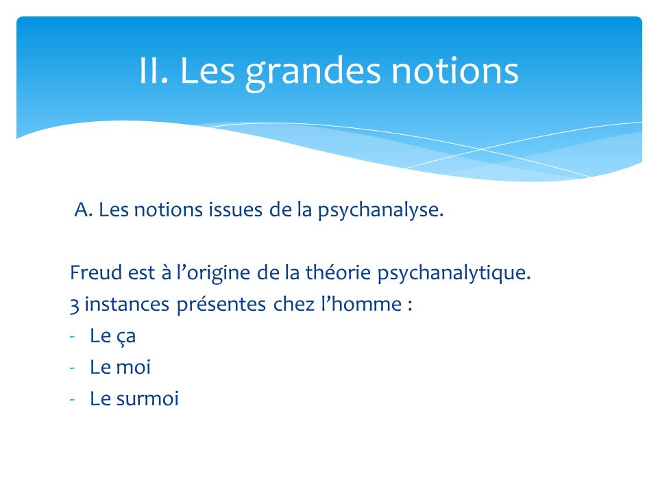 II. Les grandes notions A. Les notions issues de la psychanalyse.
