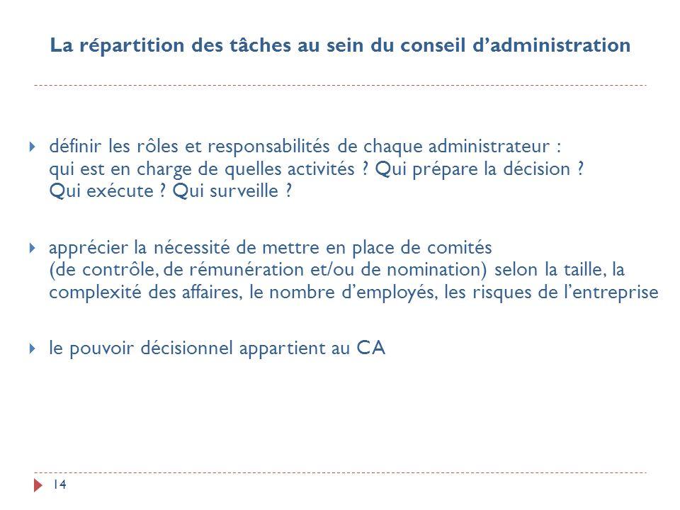 La répartition des tâches au sein du conseil d'administration