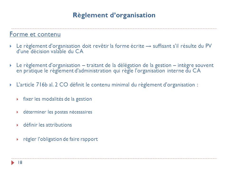 Règlement d'organisation