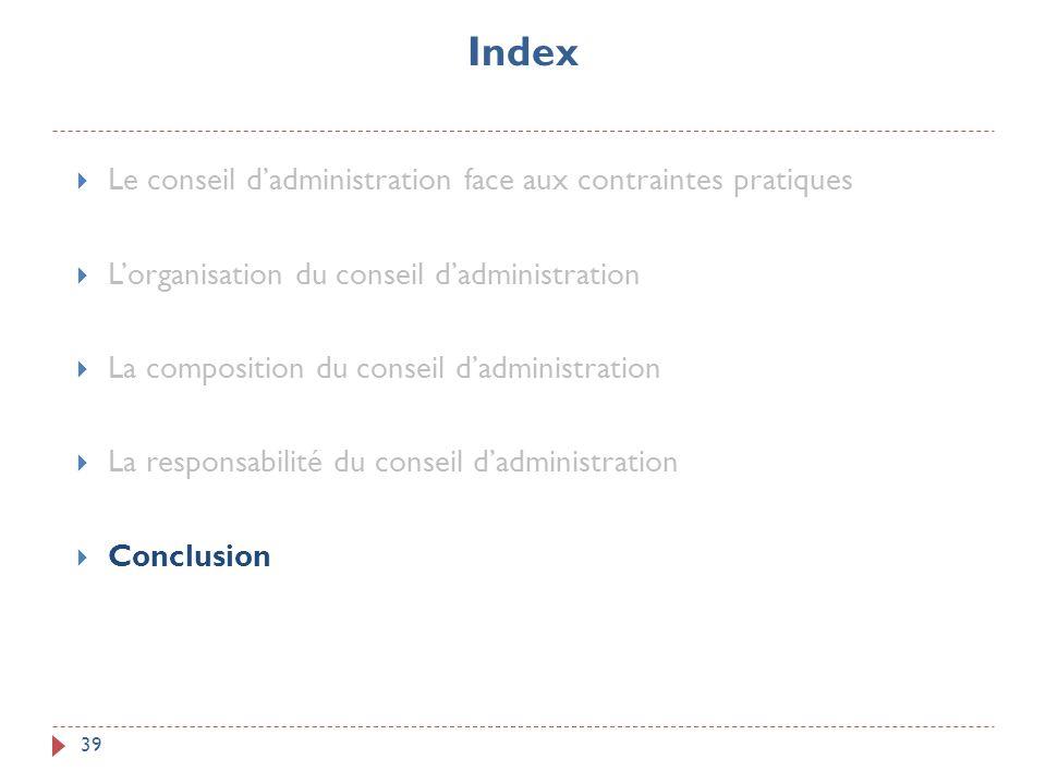 Index Le conseil d'administration face aux contraintes pratiques