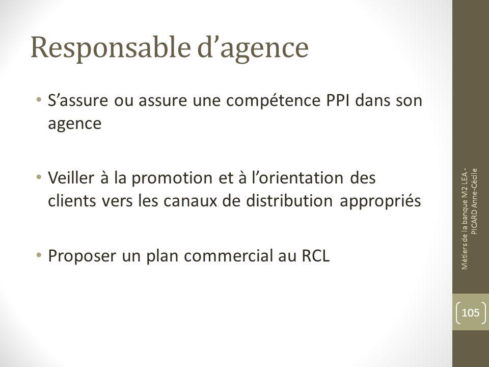 Responsable d'agence S'assure ou assure une compétence PPI dans son agence.