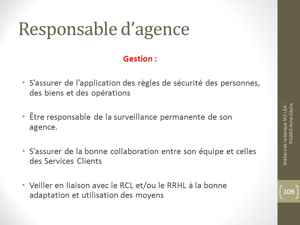 Responsable d'agence Gestion :