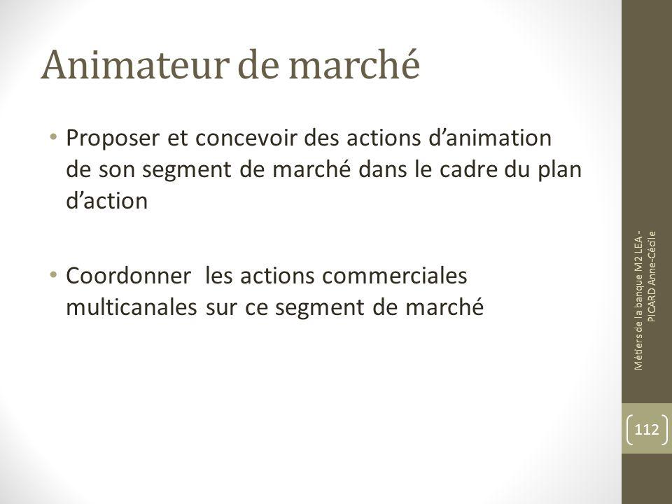 Animateur de marché Proposer et concevoir des actions d'animation de son segment de marché dans le cadre du plan d'action.