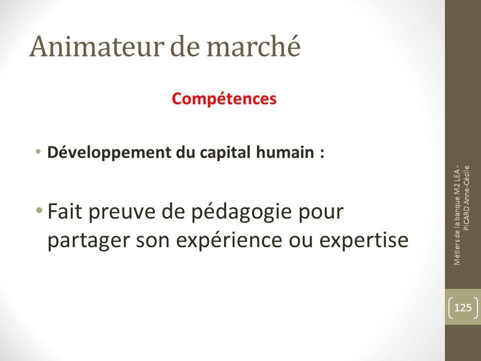 Animateur de marché Compétences. Développement du capital humain : Fait preuve de pédagogie pour partager son expérience ou expertise.