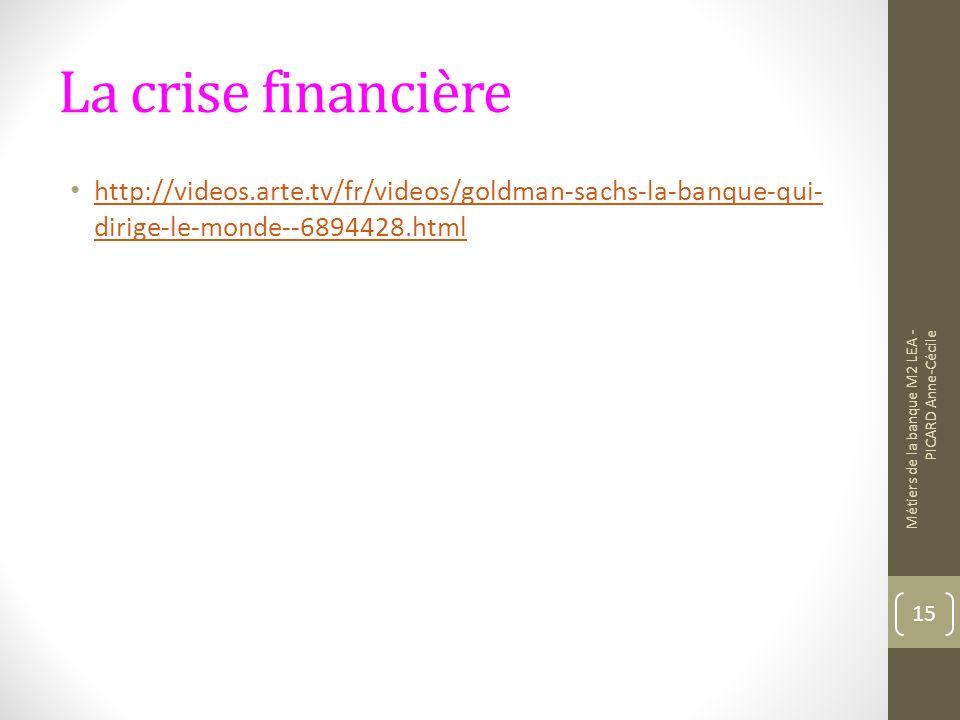 La crise financière http://videos.arte.tv/fr/videos/goldman-sachs-la-banque-qui-dirige-le-monde--6894428.html.