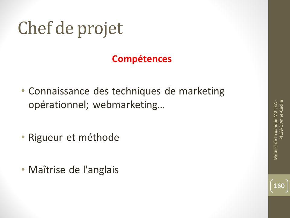 Chef de projet Compétences. Connaissance des techniques de marketing opérationnel; webmarketing… Rigueur et méthode.