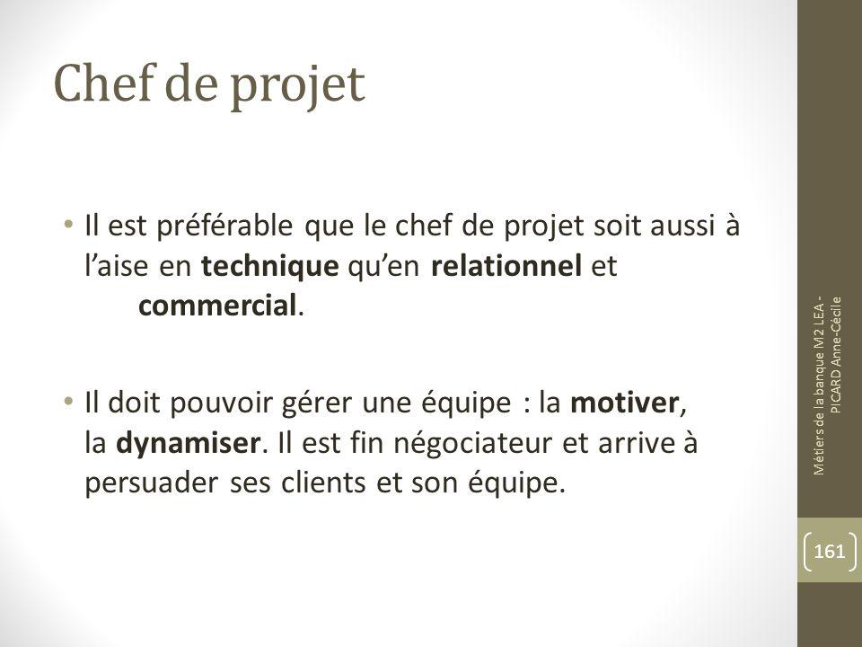 Chef de projet Il est préférable que le chef de projet soit aussi à l'aise en technique qu'en relationnel et commercial.