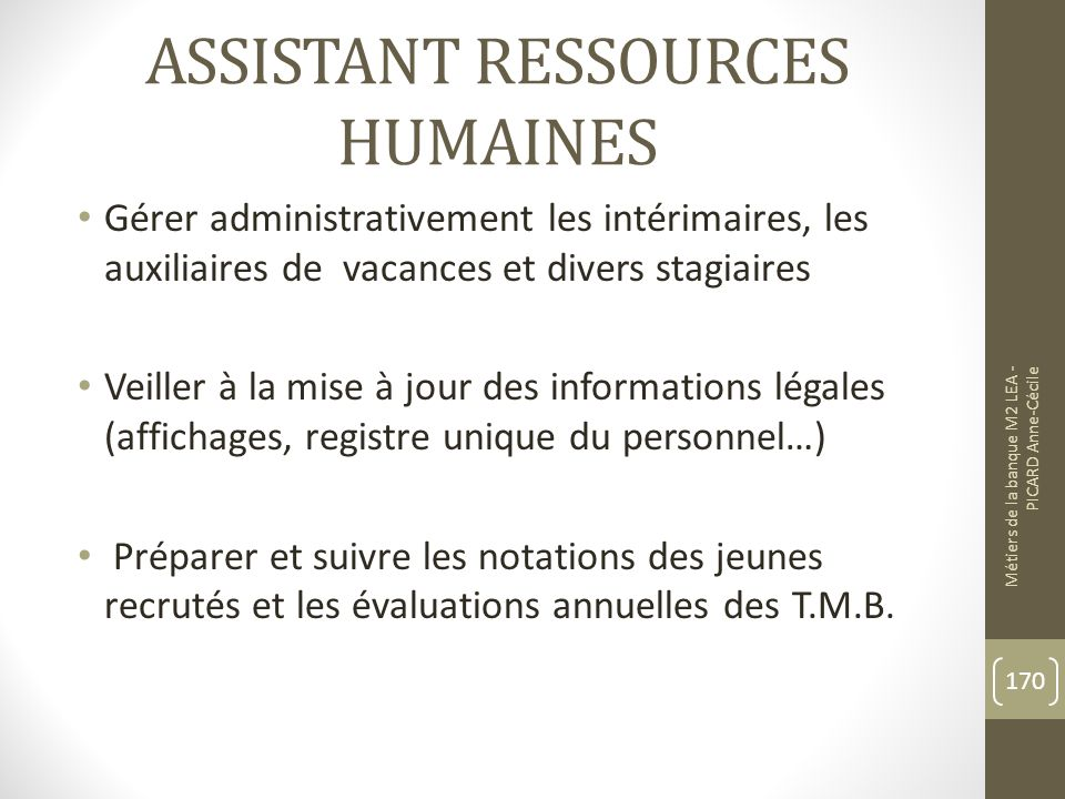 ASSISTANT RESSOURCES HUMAINES