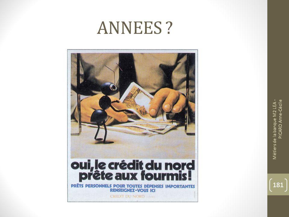 ANNEES Métiers de la banque M2 LEA - PICARD Anne-Cécile