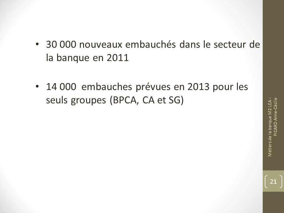 30 000 nouveaux embauchés dans le secteur de la banque en 2011