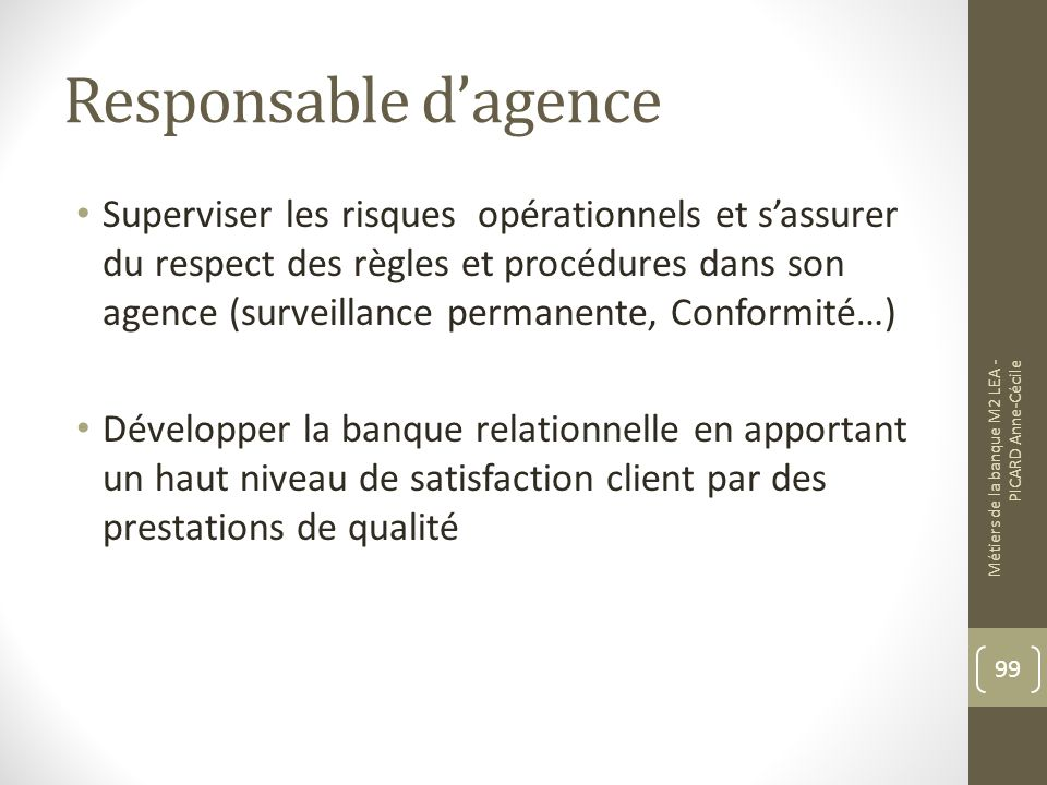Responsable d'agence