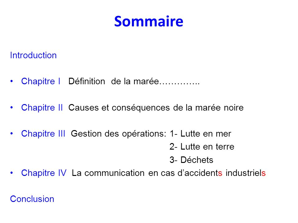 Sommaire Introduction Chapitre I Définition de la marée…………..