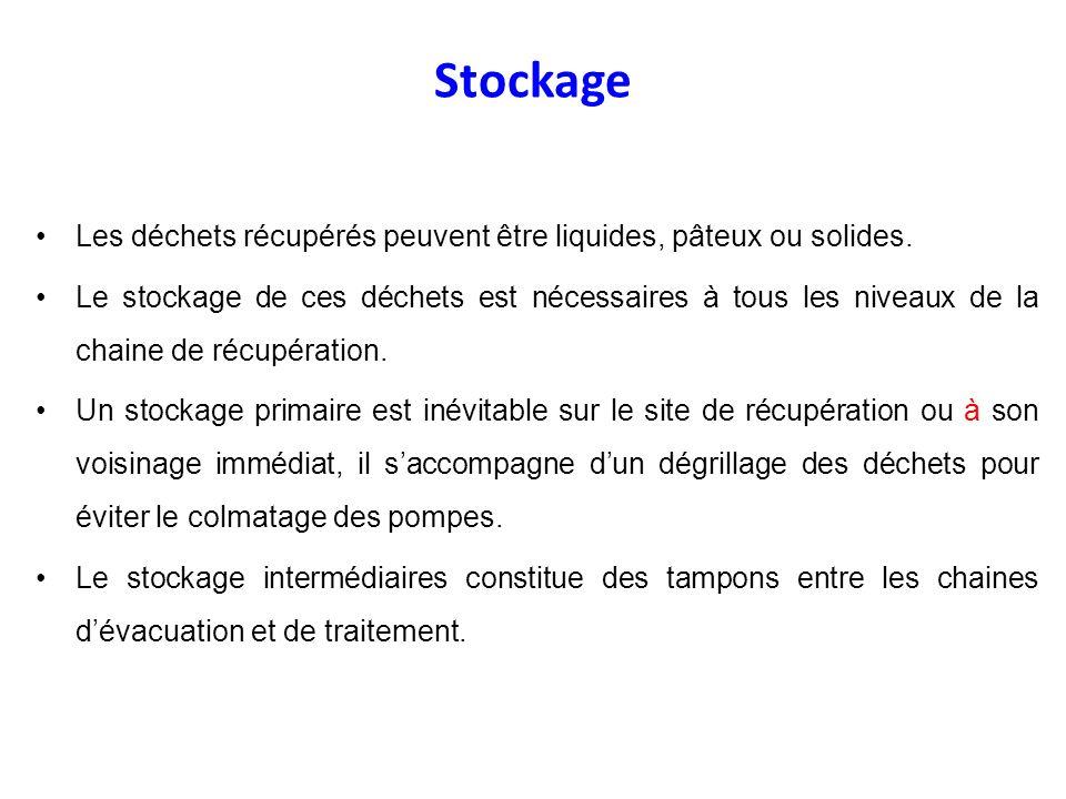 Stockage Les déchets récupérés peuvent être liquides, pâteux ou solides.