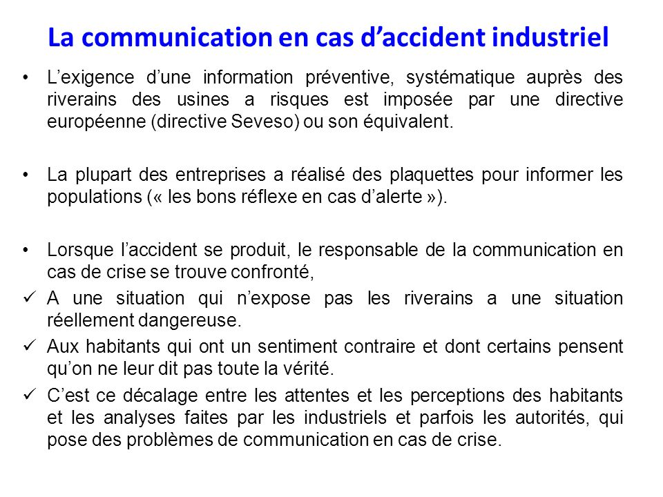 La communication en cas d'accident industriel