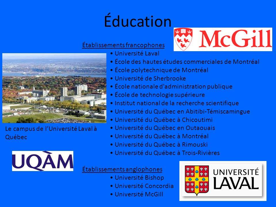 Éducation Établissements francophones • Université Laval
