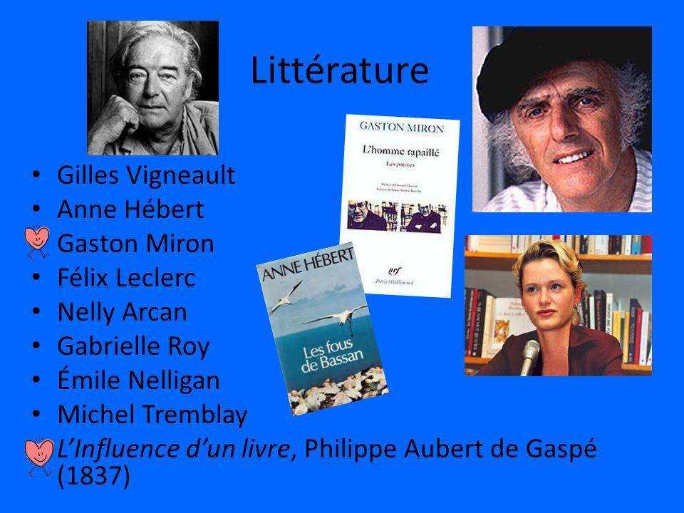 Littérature Gilles Vigneault Anne Hébert Gaston Miron Félix Leclerc