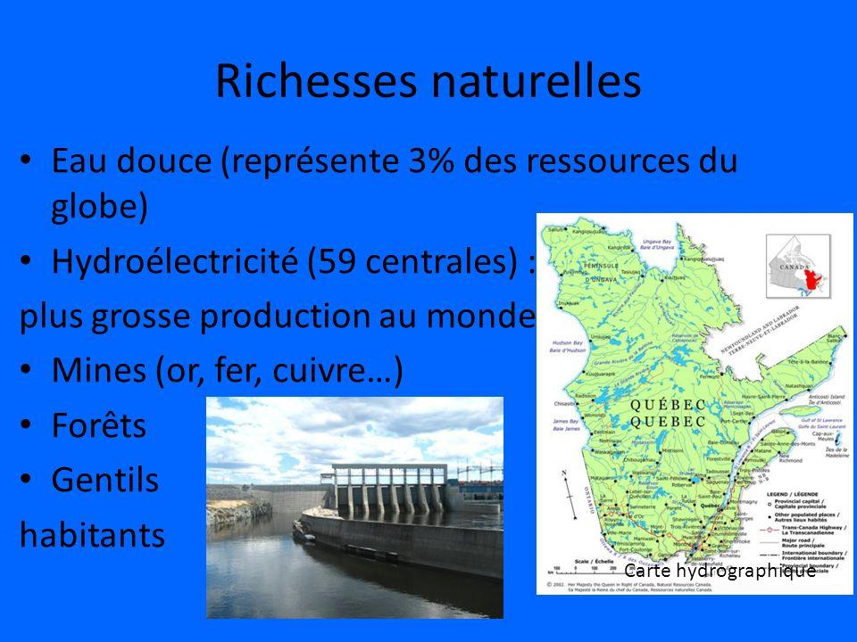 Richesses naturelles Eau douce (représente 3% des ressources du globe)