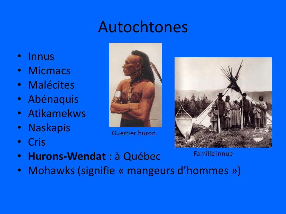 Autochtones Innus Micmacs Malécites Abénaquis Atikamekws Naskapis Cris