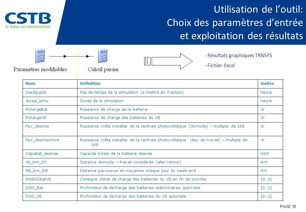 Utilisation de l'outil: Choix des paramètres d'entrée et exploitation des résultats