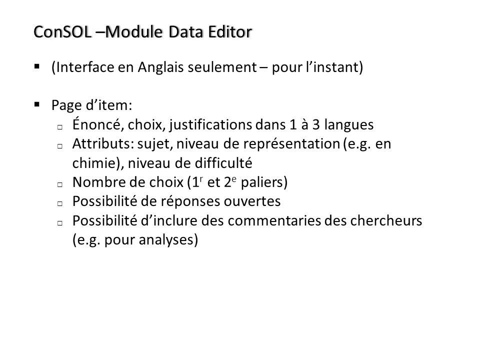 ConSOL –Module Data Editor