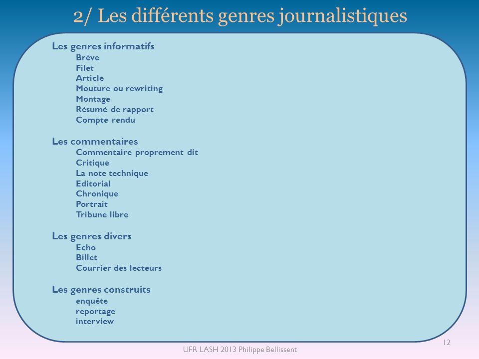 2/ Les différents genres journalistiques