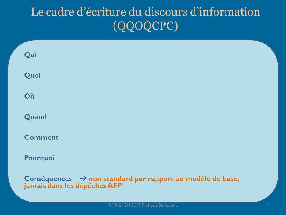 Le cadre d'écriture du discours d'information (QQOQCPC)