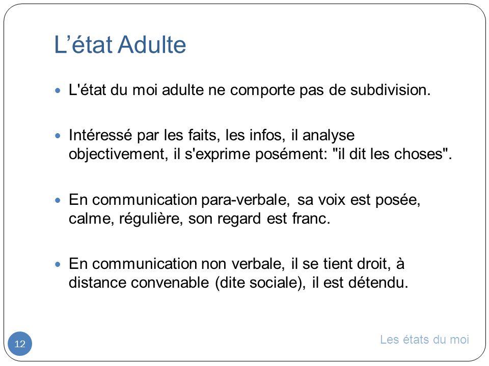 L'état Adulte L état du moi adulte ne comporte pas de subdivision.
