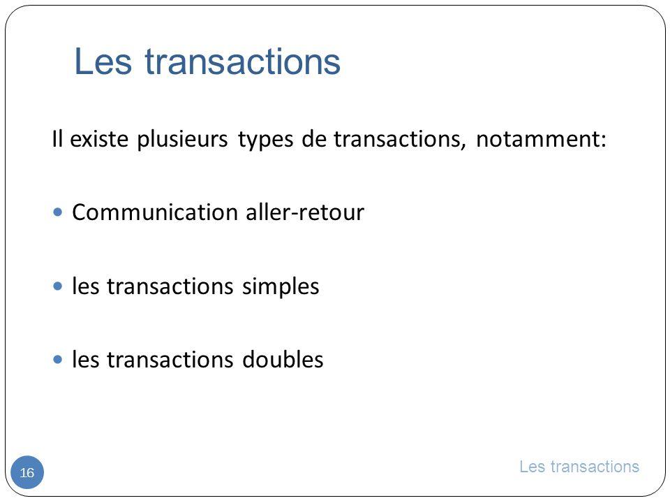 Les transactions Il existe plusieurs types de transactions, notamment: