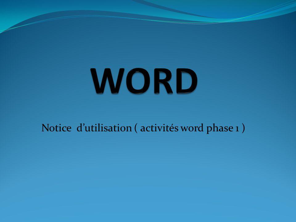 Notice d'utilisation ( activités word phase 1 )