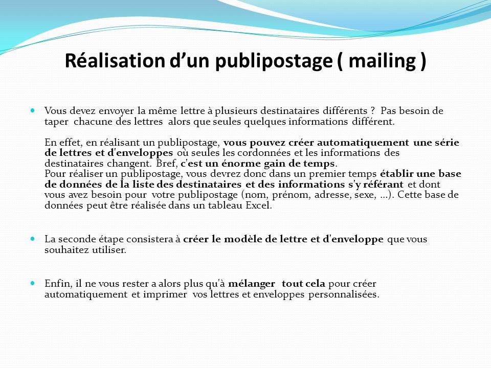 Réalisation d'un publipostage ( mailing )